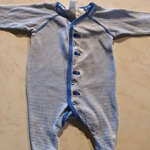 Size 000 long sleeve blue striped onesie